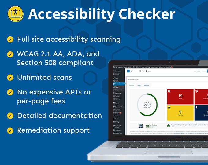 Accessibility Checker WordPress plugin- read the full list of features on Equalize Digital
