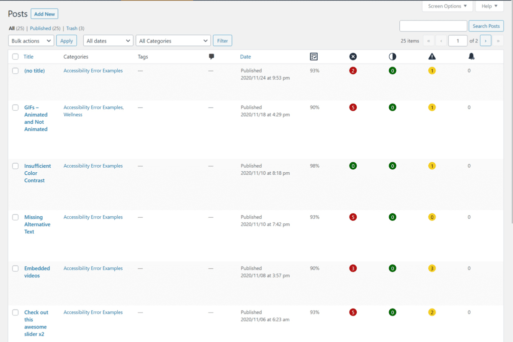 all posts screen in wordpress showing the addition of 5 admin columns for accessibility checker results on all posts
