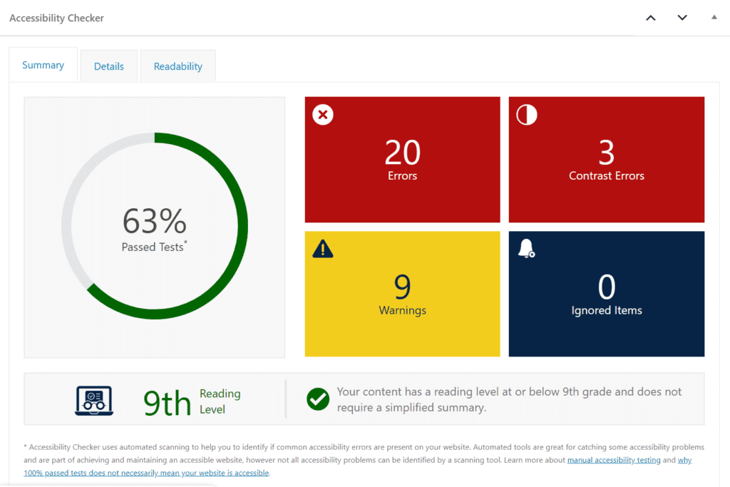 shows a percentage gauge, and count of errors, contrast errors, warnings, and ignored items - there are many of each